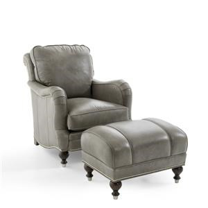 Traditional Leather Chair and Ottoman Set