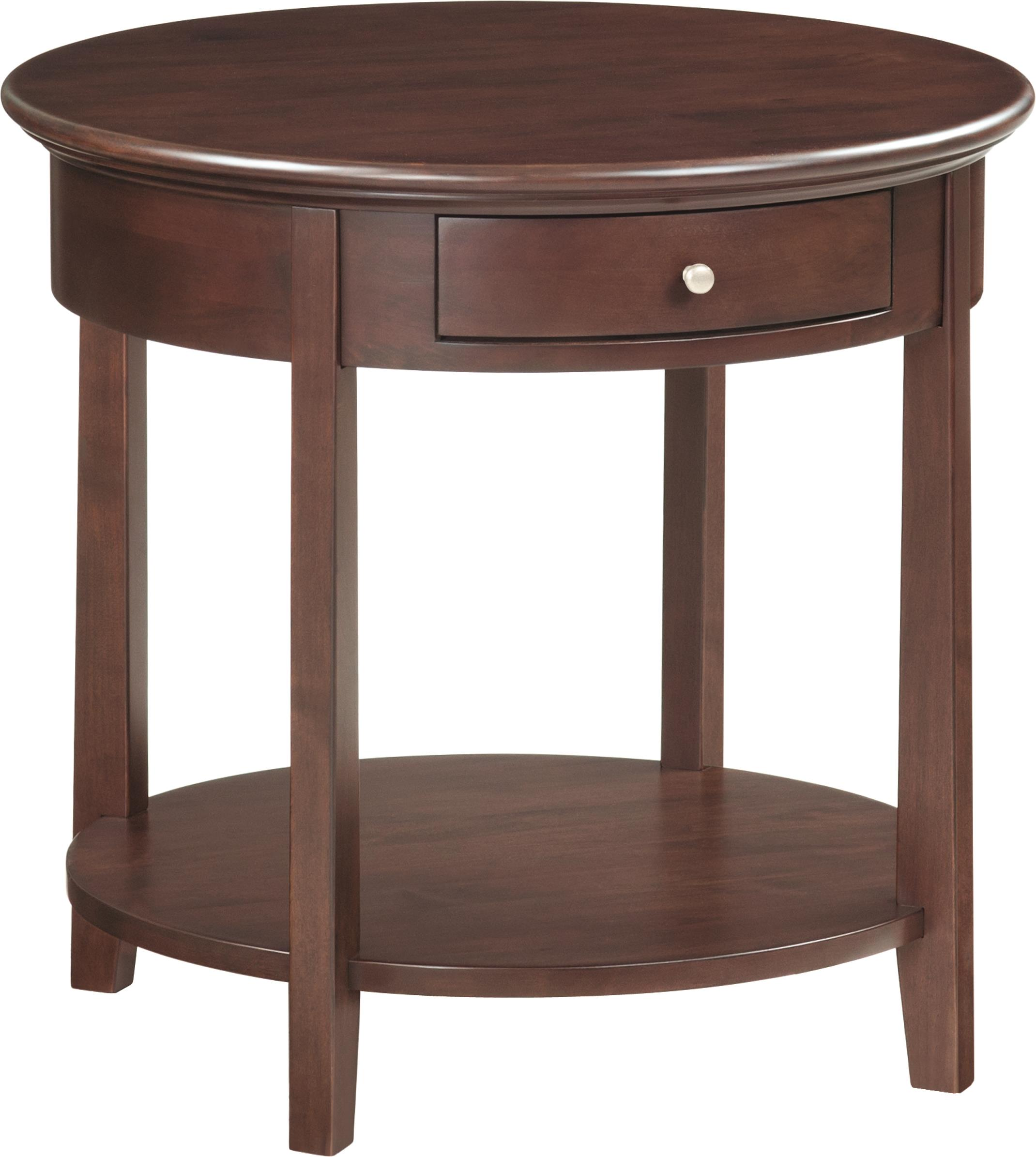 McKenzie Round End Table by Whittier Wood at HomeWorld Furniture