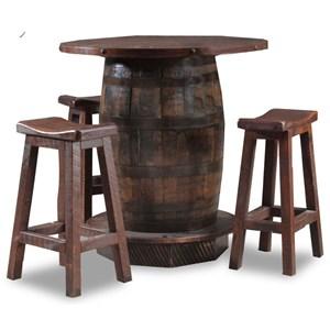 4 Piece Reclaimed Whiskey Barrel Pub Table and Saddle Seat Barstool Set