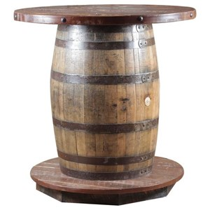 Reclaimed Whiskey Barrel Pub Table
