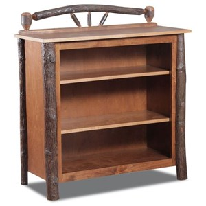Hickory Small Bookcase with Wagon Wheel Accent