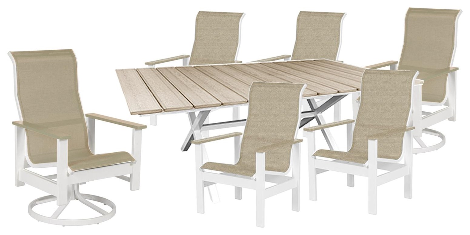 Kingston Sling Table, Highback Arm, Swivel Chair by Windward Design Group at Johnny Janosik