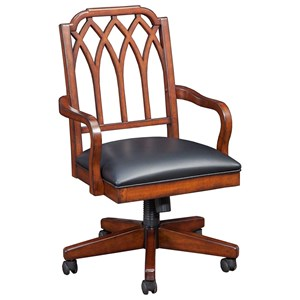 Relaxed Vintage Office Chair with Easy-to-Clean Upholstered Seat