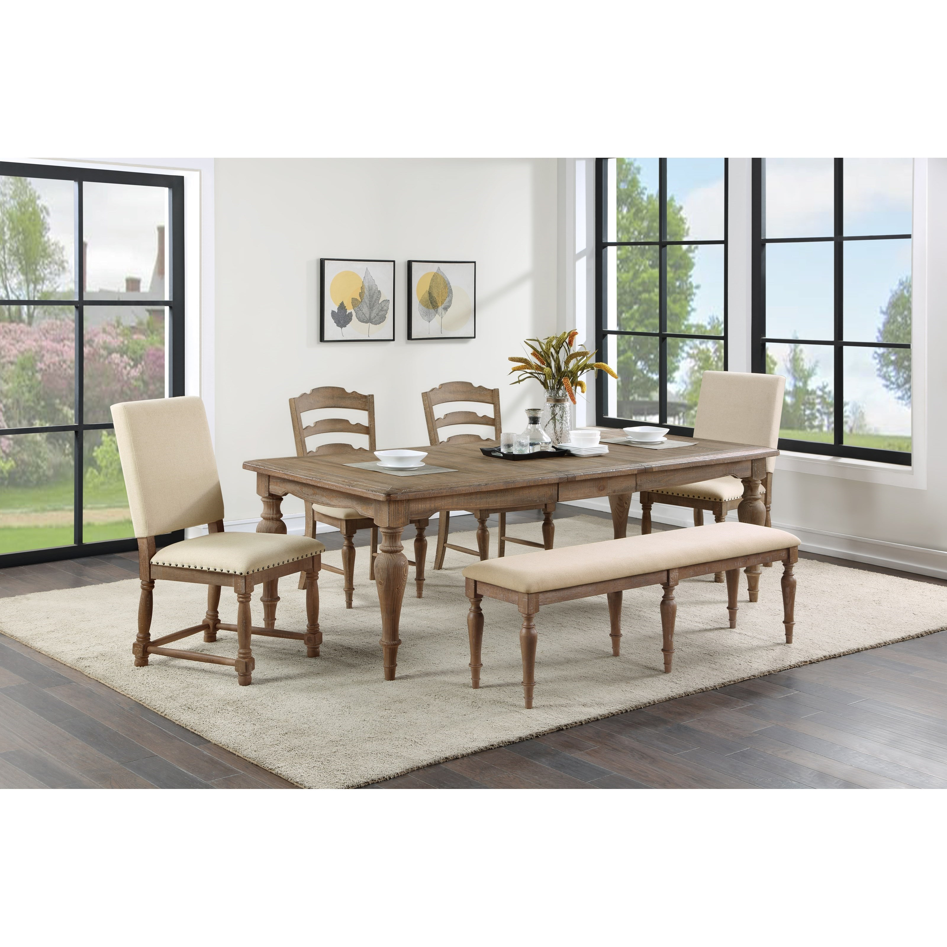 Augusta Dining Table, Chair and Bench Set by Winners Only at Simply Home by Lindy's
