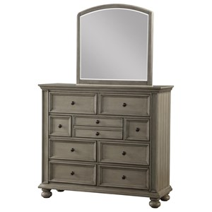 Relaxed Vintage Dresser Mirror Combination with Felt-Lined Top Drawers
