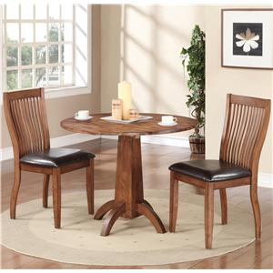 3 Piece Dining Set with Slat Back Chairs