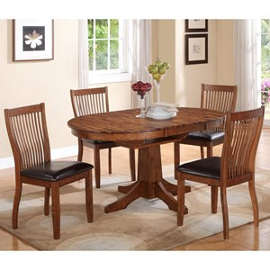 5 Piece Round Table Dining Set with Butterfly Leaf