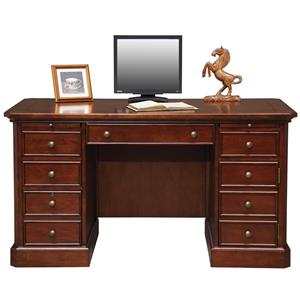 "Transitional 57"" Double Pedestal Desk with CPU Tower Door"