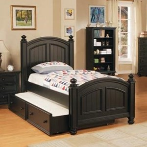 Transitional Panel Twin Bed with Trundle