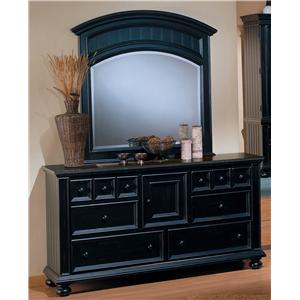6 Drawer Dresser and Landscape Mirror Combination