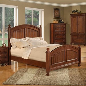 Transitional Panel Queen Bed with Bun Feet