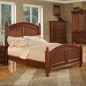 Transitional Panel Twin Bed with Bun Feet