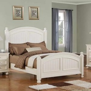 Transitional Panel King Bed with Bun Feet