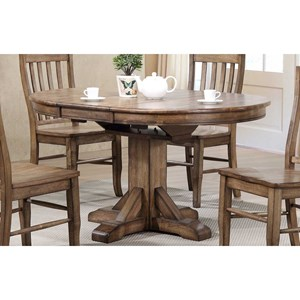 "57"" Pedestal Table w/ 15"" Butterfly Leaf and Rustic Brown Finish"