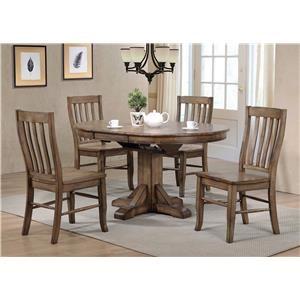 5PC Dining Table & Rake Back Sidechair Set