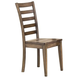Ladderback Side Chair with Rustic Brown Finish