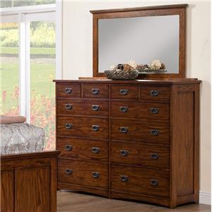 12-Drawer Dresser and Mirror Set