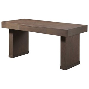"Transitional 60"" Writing Desk with Drop Front Center Drawer"