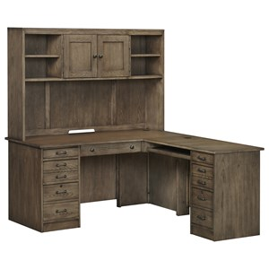 Transitional L-Shaped Desk and Hutch with Locking File Cabinets and Keyboard Drawer