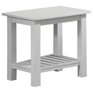 "18"" Farmhouse End Table with Slatted Shelf"