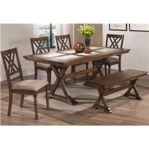 6 Piece Dining Set with Bench and X Motif
