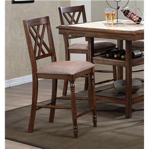 Double X Back Barstool with Upholstered Seat