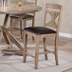 "24"" X-Back Counter Height Barstool with Upholstered Seat"