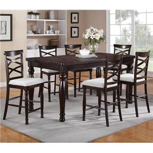 7 Piece Counter Height Dining Set with Double X-Back Stools