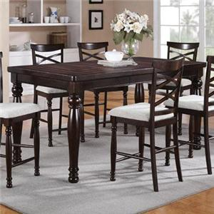 Tall Rectangular Dining Table with Turned Legs