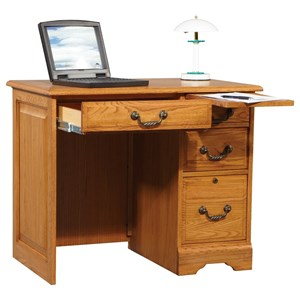 "Traditional 36"" Writing Desk with Locking File Drawer"
