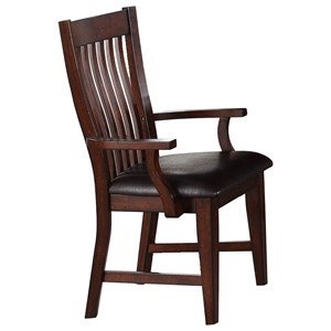 Transitional Slat Back Dining Arm Chair with Upholstered Seat