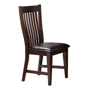 Dining Side Chair with Slat Back and Dark Upholstered Seat