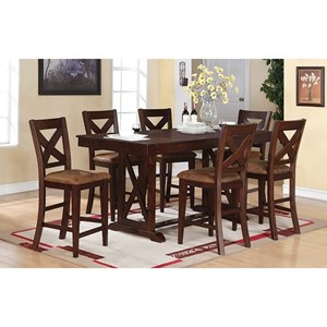 Transitional 7-Piece Dining Set at Counter Height