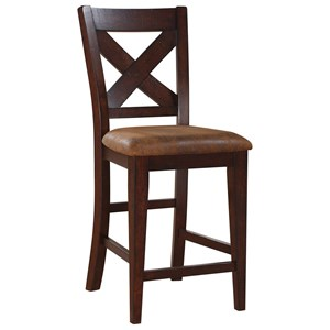 Transitional X-Back Barstool with Upholstered Seat