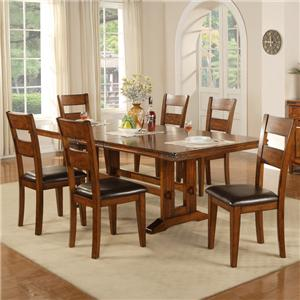 7 Piece Trestle Table and Side Chair Set