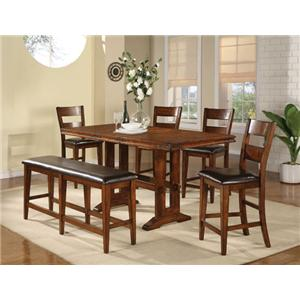 6 Piece Trestle Table, Bench and Chair Set