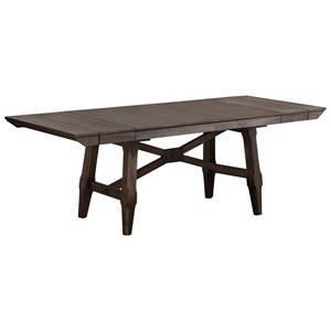 "Transitional 96"" Trestle Table with 2 Leaves"