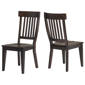 Transitional Rake Back Side Chair with Contoured Seat