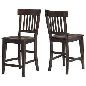 Transitional Rake Back Barstool with Contoured Seat