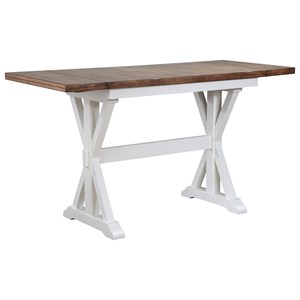 "Counter Height Trestle Dining Table with two 10"" Leaves"