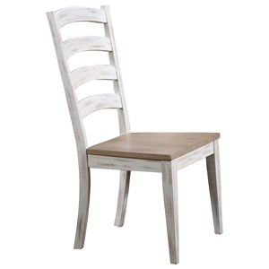 Rustic Arched Ladder Back Side Chair with Two-Tone Finish