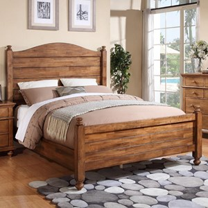 Transitional King Panel Bed with Turned Posts