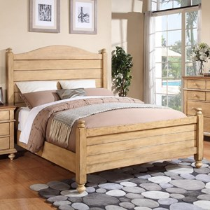 Transitional California King Panel Bed with Turned Posts