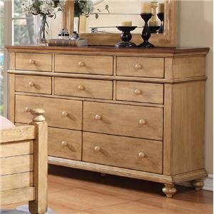 Transitional 10-Drawer Dresser with Turned Feet