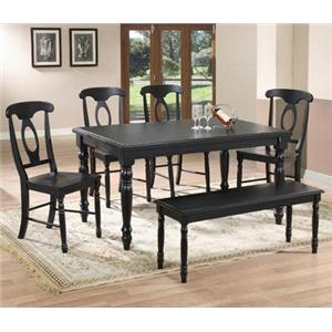 Winners Only Quails Run 6 Piece Dining Table, Chair and Bench Set