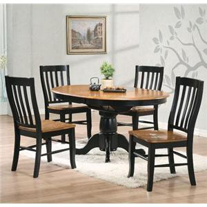 5 Piece Round Pedestal Table and Rake Back Side Chair Set