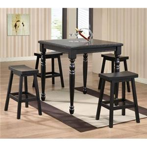 5 Piece Square Tall Table and Saddle Barstool Set