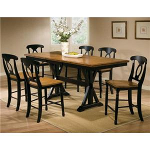 7 Piece Tall Table with Napoleon Barstools