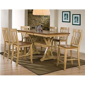 7 Piece Tall Table and Rake Back Barstool Set