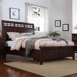 Queen Sleigh Storage Bed with Two Drawers